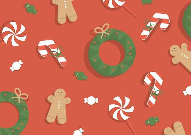 ベクトルイラスト。クリスマスの背景。 無料ベクター