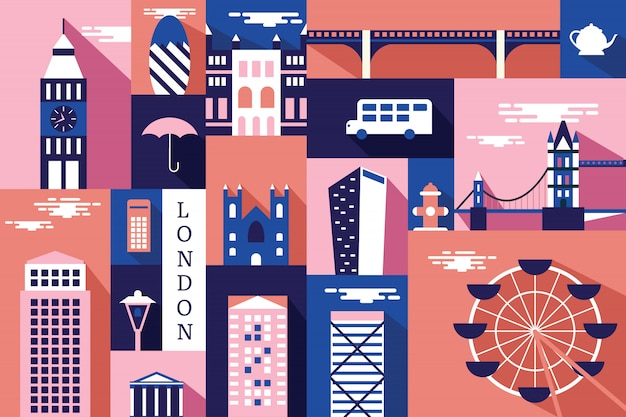 Vector illustration of city in london Premium Vector