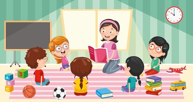 Vector illustration of classroom Premium Vector