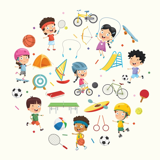 Vector illustration collection of kids and sport equipments Premium Vector