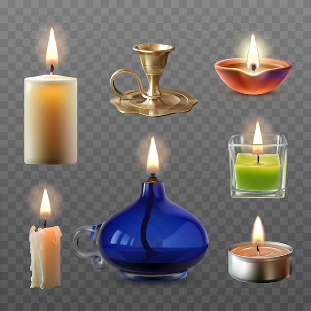 Vector illustration of a collection of various candles in a realistic style Free Vector