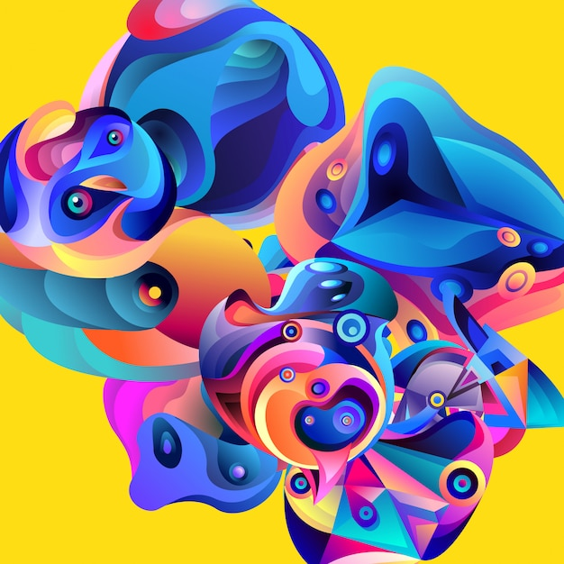 Vector illustration colorful abstract fluid background Premium Vector