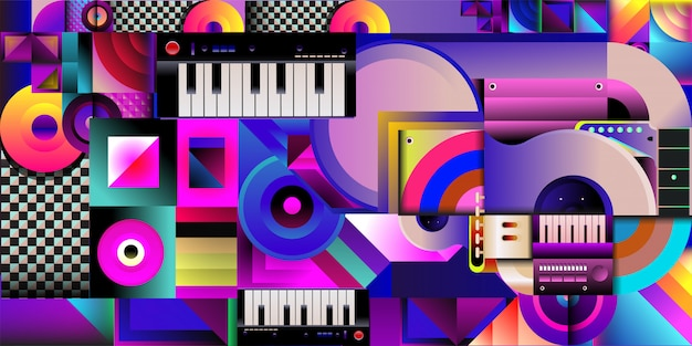 Vector illustration colorful music background Premium Vector