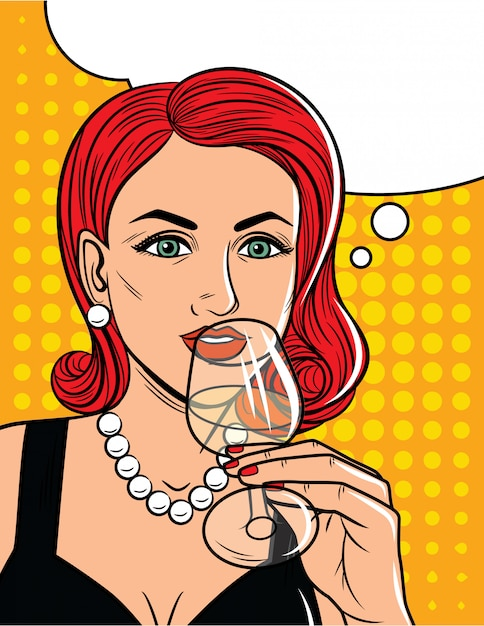 Vector illustration in comic art style of  pretty woman drinking an alcohol. glamour lady with red hair holding glass with alcohol in her hand Premium Vector