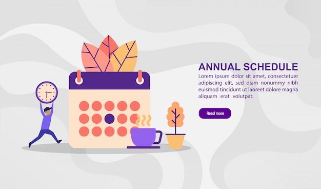 Vector illustration concept of annual schedule. modern illustration conceptual for banner template Premium Vector