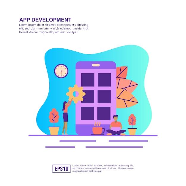 Vector illustration concept of app development Premium Vector
