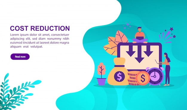 Vector illustration concept of cost reduction with character. landing page template Premium Vector