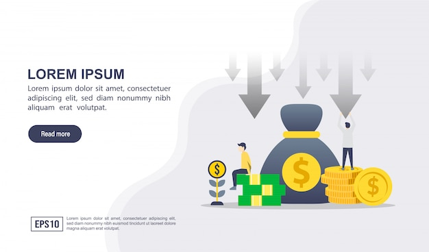 Vector illustration concept of cost reduction with character Premium Vector