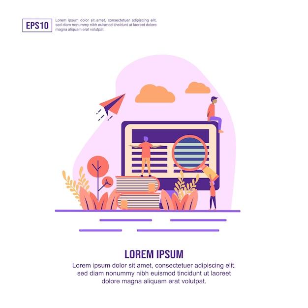 Vector illustration concept of e learning Premium Vector
