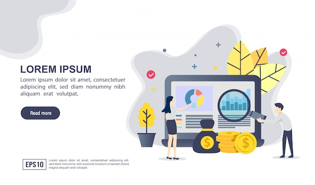 Vector illustration concept of financial with character Premium Vector