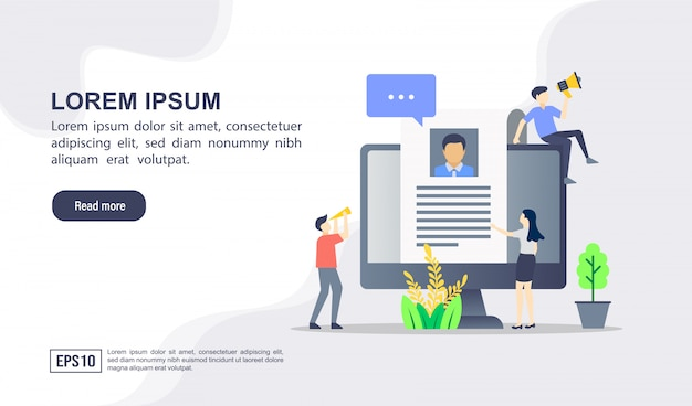 Vector illustration concept of job hiring with character Premium Vector