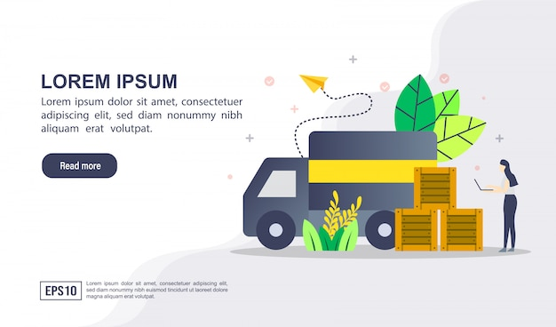 Vector illustration concept of logistic distribution with character Premium Vector