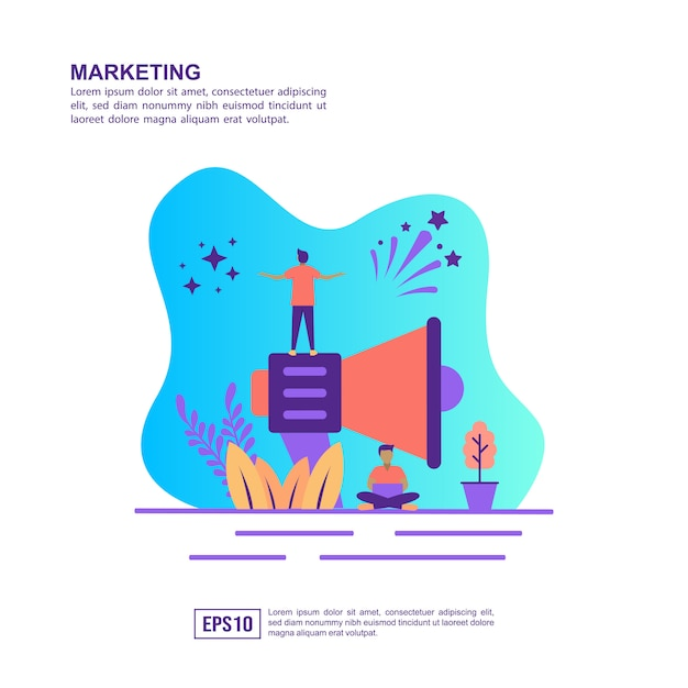 Vector illustration concept of marketing Premium Vector
