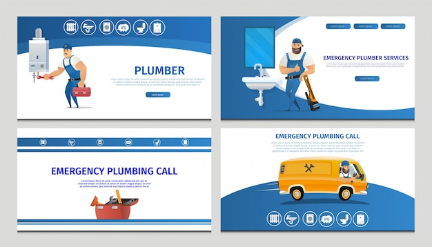 Vector illustration concept page plumber service Premium Vector