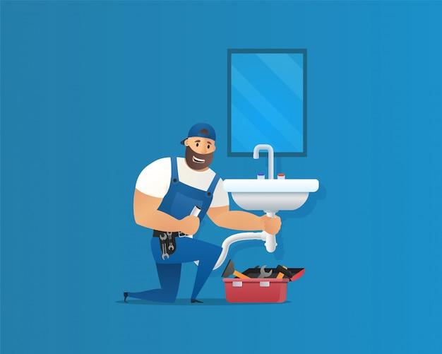 Vector illustration concept plumber service Premium Vector