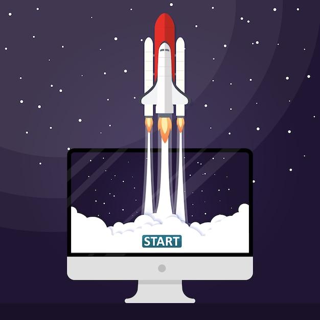 Vector Illustration Concept Rocket Launch Vector