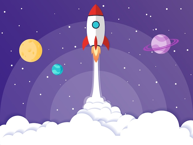 Vector illustration concept rocket launch Premium Vector