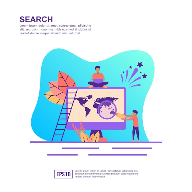 Vector illustration concept of search Premium Vector