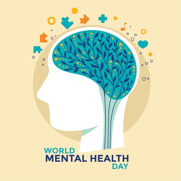 Vector illustration concept of world mental health day. Premium Vector