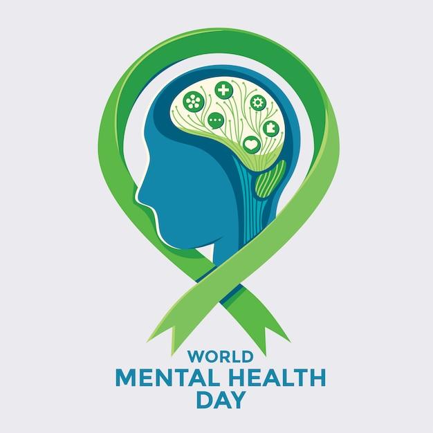 Vector illustration concept of world mental health day. Premium Vector