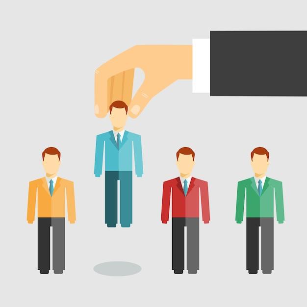Векторная иллюстрация концептуального управления человеческими ресурсами с бизнесменом, выбирающим кандидата из соискателей для повышения по службе или увольнения Бесплатные векторы