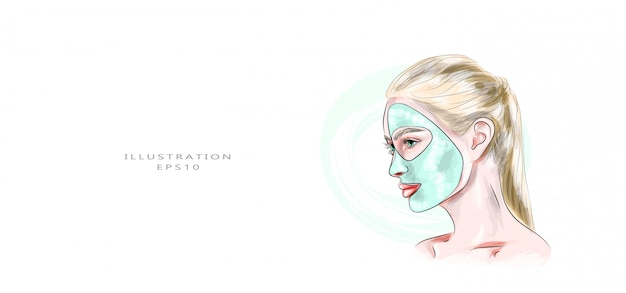 Vector illustration. cosmetology and facial skin care Premium Vector