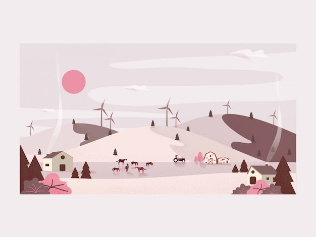 Vector illustration of countryside organic farm .horse ranch and wind turbine. Premium Vector