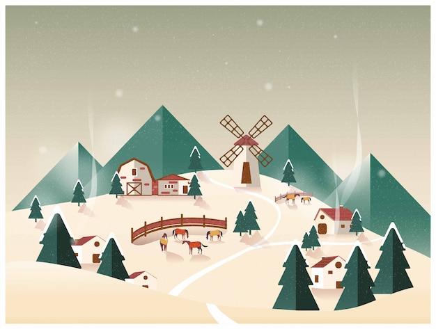Vector illustration of countryside organic farm .horse ranch in winter. Premium Vector