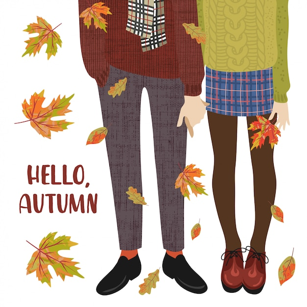 Vector illustration of a couple of teenagers and falling autumn leaves Premium Vector