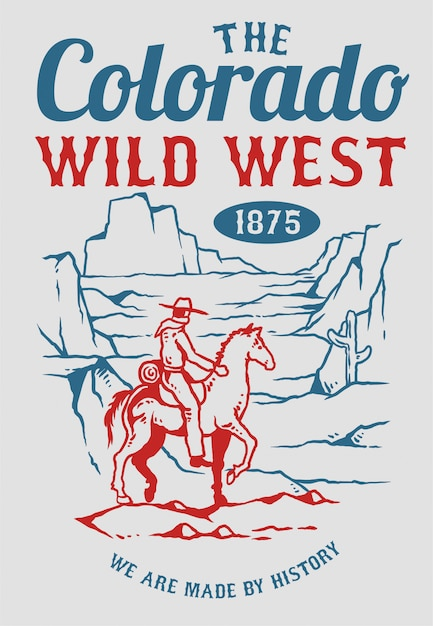 Vector illustration of cowboy riding a horse in the mountain of wild west era Premium Vector