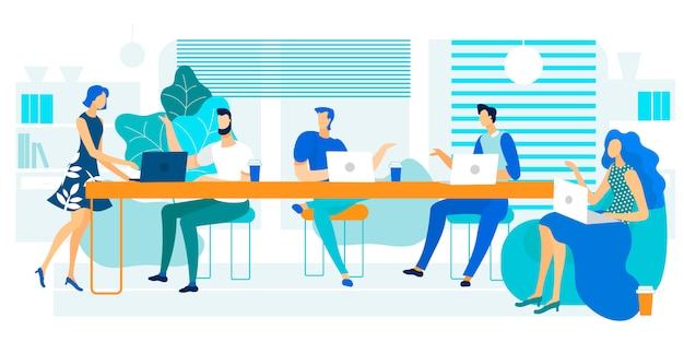 Vector illustration coworking large long table. Premium Vector