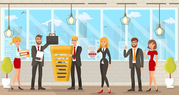 Vector illustration coworking space for lawyers. Premium Vector