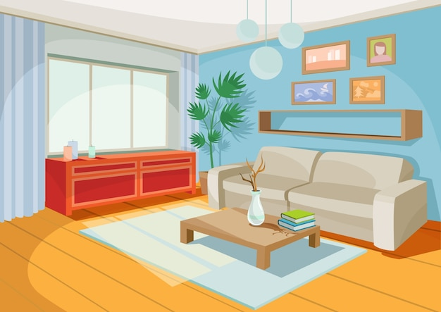 Vector illustration of a cozy cartoon interior of a home room, a living room Free Vector