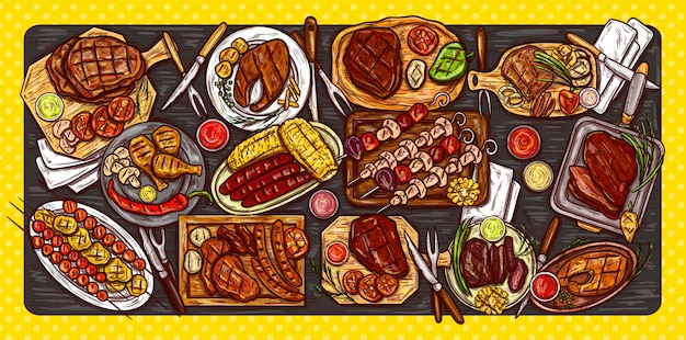 Vector illustration, culinary banner, barbecue background with grilled meat, sausages, vegetables and sauces. Free Vector