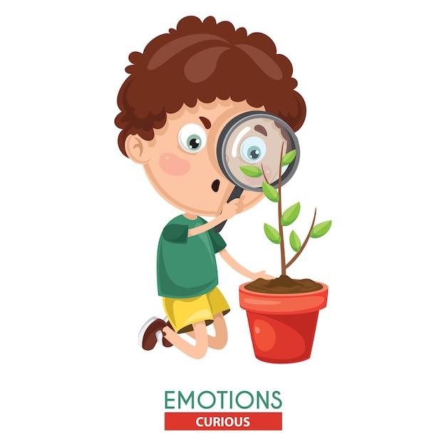 Vector illustration of curious kid emotion Premium Vector