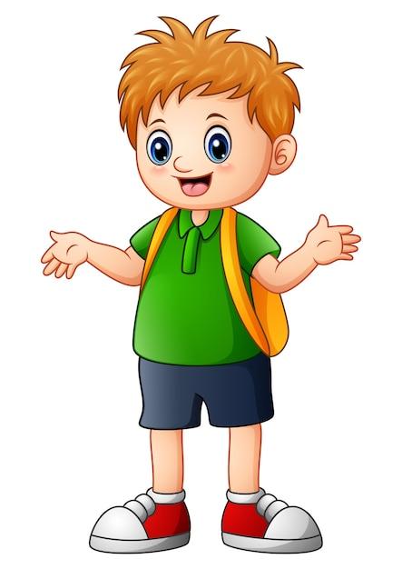 Vector illustration of cute boy cartoon go to school - Cartoon boy wallpaper ...