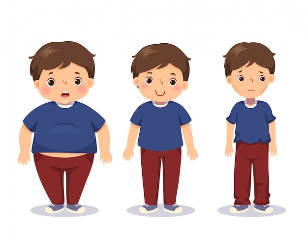 Vector illustration cute cartoon fat boy, average boy, and skinny boy. boy with different weight. Premium Vector