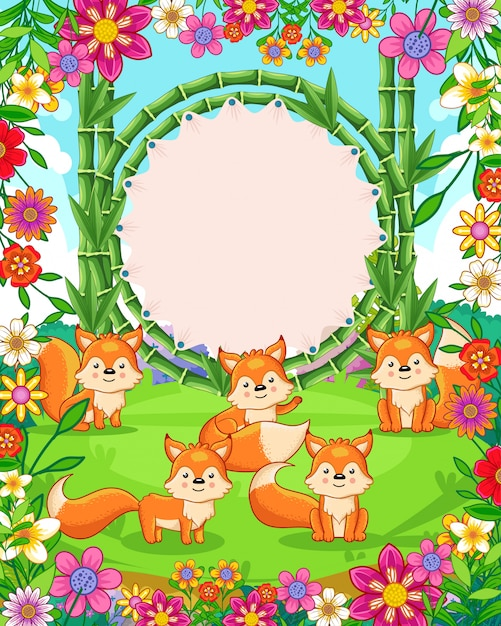 Vector illustration of cute foxes with bamboo blank sign in the garden Premium Vector