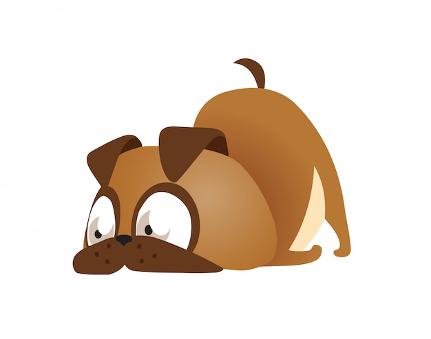Vector illustration of cute and funny cartoon puppy activity Premium Vector