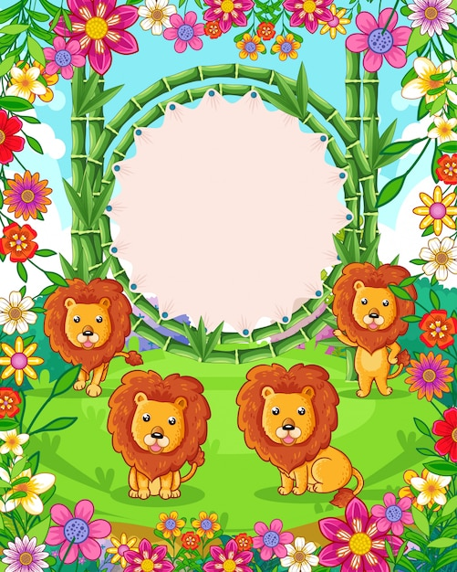 Vector illustration of cute lions with bamboo blank sign in the garden Premium Vector