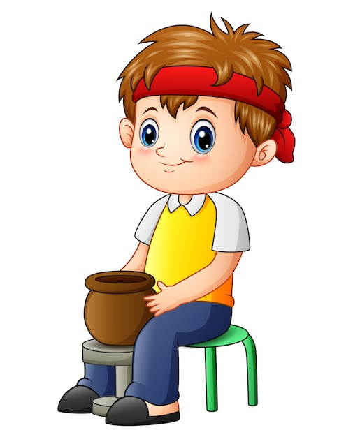 Vector illustration of cute little boy potter makes clay pot Premium Vector