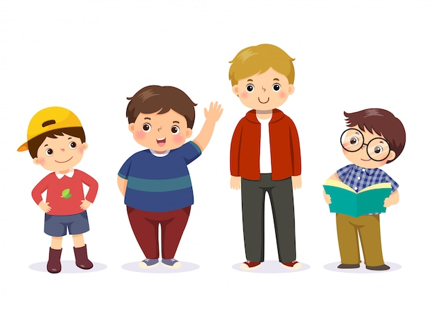 Vector illustration of cute little boys in different character. Premium Vector