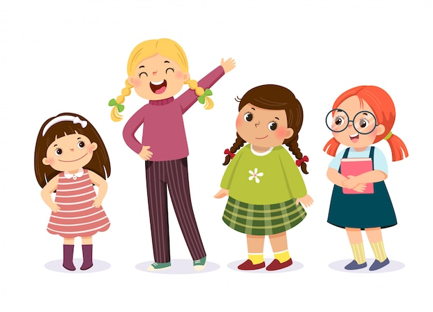 Vector illustration of cute little girls in different character. Premium Vector