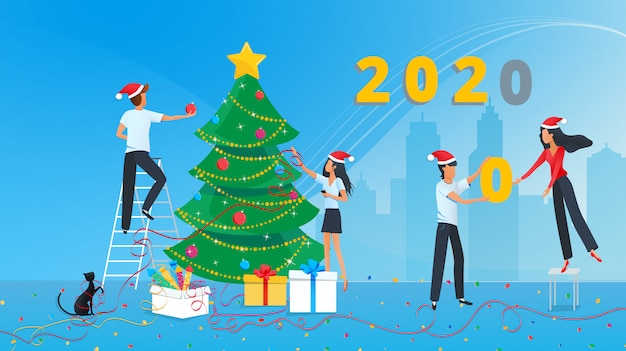 Vector illustration of cute people are preparing for the new year and decorating christmas tree in the corporate office at work Premium Vector