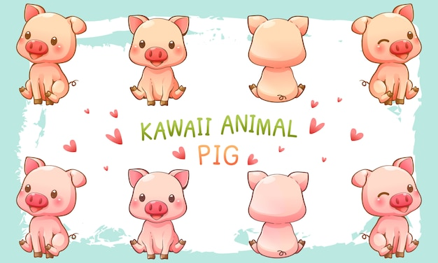Vector illustration of cute pig Premium Vector