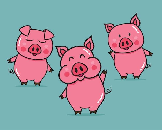 Vector illustration of cute pigs cartoon Premium Vector