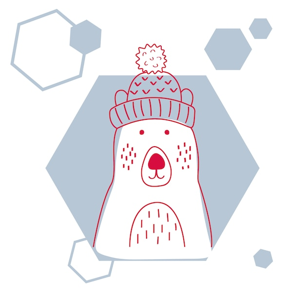 Vector illustration of a cute polar bear in hat. Premium Vector