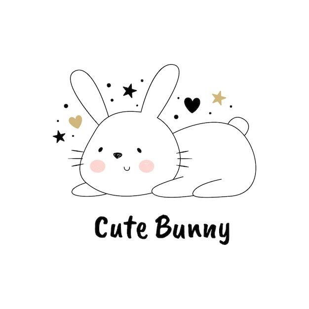Vector illustration of a cute rabbit Premium Vector