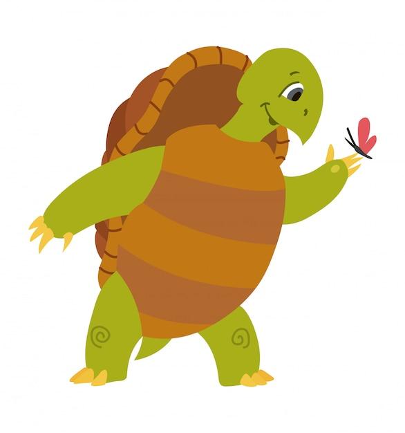 Vector illustration of cute turtle cartoon isolated on white Premium Vector
