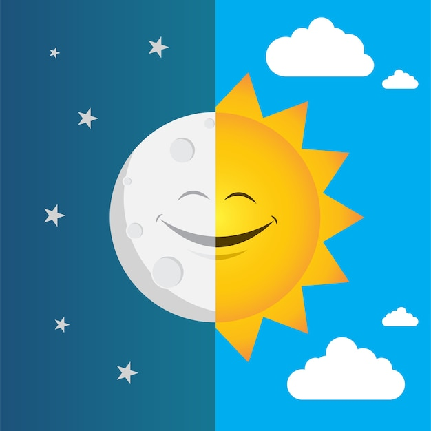 Vector illustration of day and night Premium Vector
